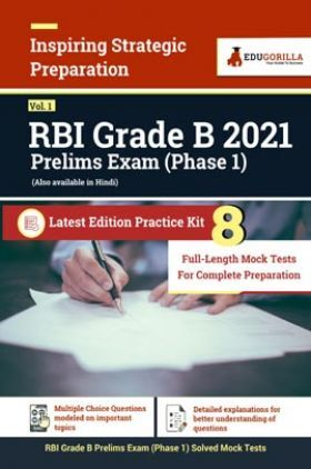 RBI Grade B 2021 Prelims Exam (Phase 1)   8 Full-length Mock Tests For Complete Preparation