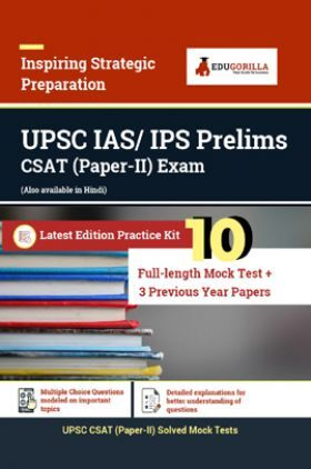 EduGorilla UPSC IAS/ IPS Prelims CSAT (Paper-II) Exam   Prep Kit Of 13 Test (Includes 10 Mock Tests & 3 Previous Year Papers)