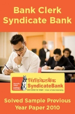 Bank Clerk Syndicate Bank Solved Sample Previous Year Paper 2010