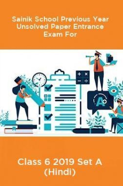 Sainik School Previous Year Unsolved Paper Entrance Exam For Class 6 2019 Set A (Hindi)