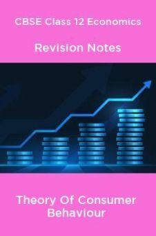 CBSE Class 12 Economics Revision Notes Theory Of Consumer Behaviour