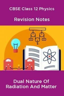 CBSE Class 12 Physics Revision Notes Dual Nature Of Radiation And Matter