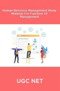 UGC NET Human Resource Management Study Material For Function Of Management
