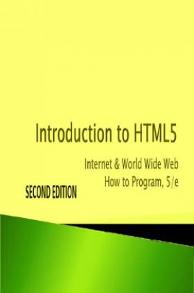 Introduction To HTML5 Internet And World Wide Web How To Program 5/e Second Edition