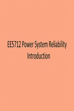 EE5712 Power System Reliability Introduction