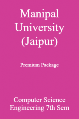 Manipal University (Jaipur) Premium Package Computer Science Engineering 7th Sem