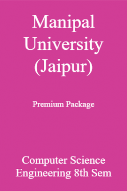 Manipal University (Jaipur) Premium Package Computer Science Engineering 8th Sem