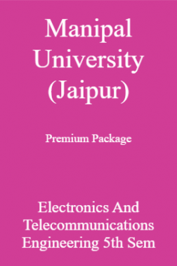 Manipal University (Jaipur) Premium Package Electronics And Telecommunications Engineering 5th Sem