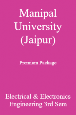 Manipal University (Jaipur) Premium Package Electrical & Electronics Engineering 3rd Sem