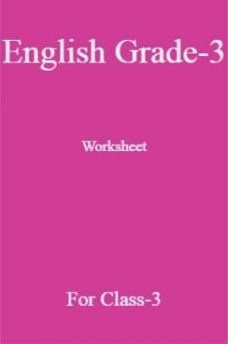 English Grade-3 Worksheet For Class-3