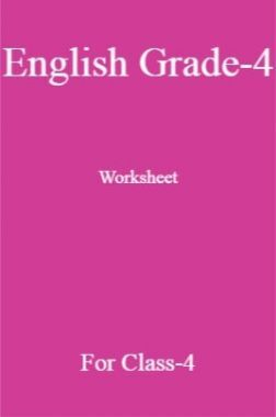 English Grade-4 Worksheet For Class-4