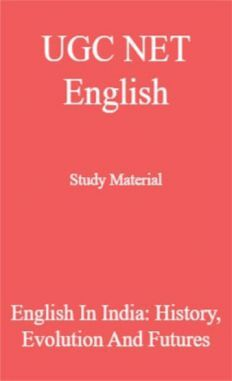 UGC NET English Study Material English In India: History, Evolution And Futures
