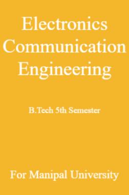 Electronics Communication Engineering B Tech 5th Semester For Manipal University