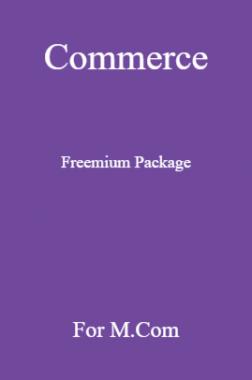 Commerce Freemium Package For M.Com