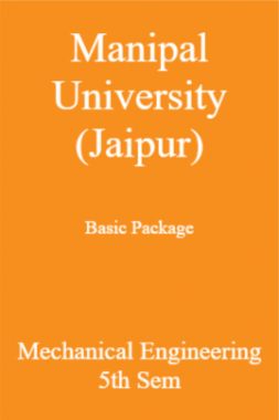 Manipal University (Jaipur) Basic Package Mechanical Engineering 5th Sem