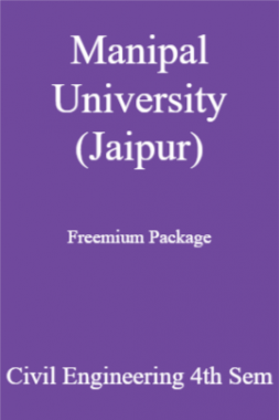 Manipal University (Jaipur) Freemium Package Civil Engineering 4th Sem