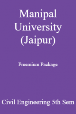 Manipal University (Jaipur) Freemium Package Civil Engineering 5th Sem
