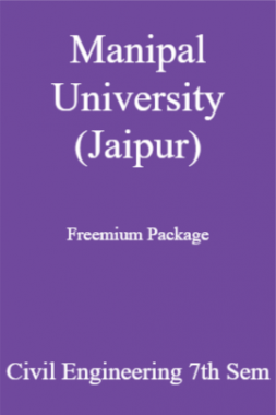 Manipal University (Jaipur) Freemium Package Civil Engineering 7th Sem