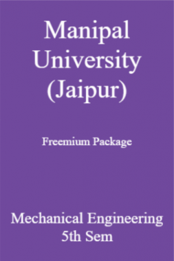 Manipal University (Jaipur) Freemium Package Mechanical Engineering 5th Sem