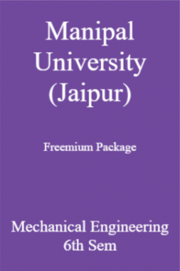 Manipal University (Jaipur) Freemium Package Mechanical Engineering 6th Sem