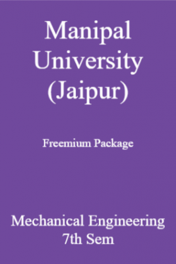Manipal University (Jaipur) Freemium Package Mechanical Engineering 7th Sem