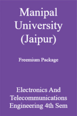 Manipal University (Jaipur) Freemium Package Electronics And Telecommunications Engineering 4th Sem