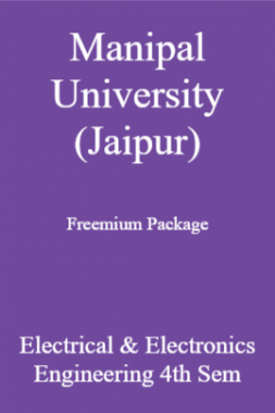 Manipal University (Jaipur) Freemium Package Electrical & Electronics Engineering 4th Sem