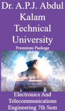 Dr. A.P.J. Abdul Kalam Technical University Freemium Package Electronics And Telecommunications Engineering 7th Sem