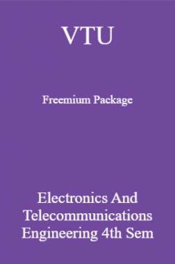 VTU Freemium Package Electronics and Telecommunications Engineering IV SEM