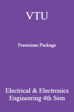 VTU Freemium Package Electrical And Electronics Engineering III SEM