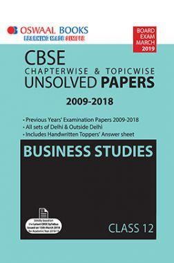 Oswaal CBSE Chapterwise & Topicwise Unsolved Papers Class - XII Business Studies For 2019 Exam
