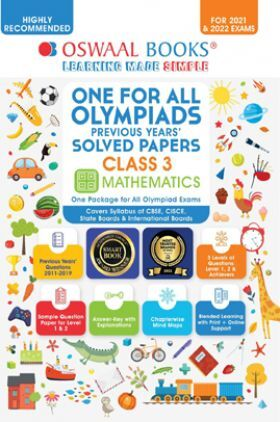 Oswaal One For All Olympiad Previous Years Solved Papers Class-3 Mathematics Book (For 2022 Exam)