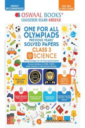 Oswaal One For All Olympiad Previous Years Solved Papers Class-3 Science Book (For 2022 Exam)