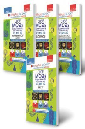 Oswaal CBSE MCQs Chapterwise Term I & II Class 10 (Set of 4 Books) Mathematics (Basic), Science, Social Science, Hindi-B (2021-22 Exam)