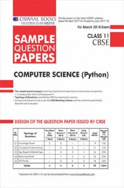 Oswaal CBSE Sample Question Papers For Class XI Computer Science Python (Mar. 2018 Exam)