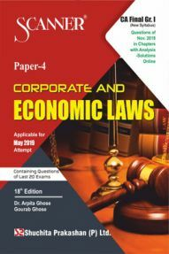 Shuchita Prakashan Solved Scanner CA Final (New Syllabus) Group-I Paper-4 Corporate And Economic Laws For May 2019 Exam