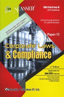Shuchita Prakashan Scanner CMA Final Group-III (2016 Syllabus) Paper-13 Corporate Laws & Compliance For June 2019 Exam