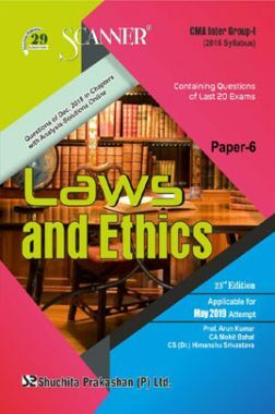 Shuchita Prakashan Scanner CMA Inter Group-I (2016 Syllabus) Paper-6 Laws And Ethics For May 2019 Exam