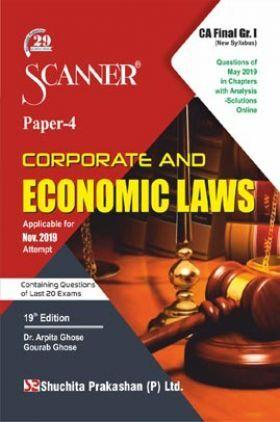 Shuchita Prakashan CA Final Scanner on Corporate And Economic Laws (New Syllabus) Grade -I Paper - 4 For Nov 2019 Exam