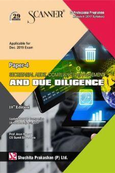 Shuchita Prakashan Scanner on Secretarial Audit, Compliance Management And Due Diligence for CS Professional Programme Module-II (2017 Syllabus) Paper-4 For Dec 2019 Exam