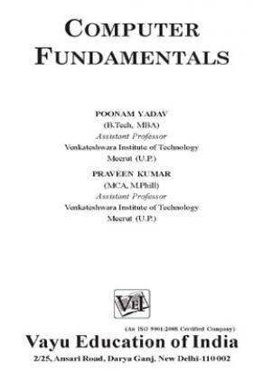 Computer Fundamentals By Poonam Yadav and Praveen Kumar