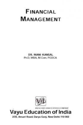 Financial Management By Dr. Mani Kansal