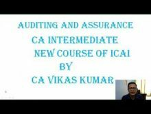 Audit And Assurance - CA Intermediate New Course of ICAI Chapter-I Part I Video by Revantasuntech