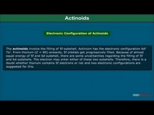Class 12 Chemistry - Actinoids Video by MBD Publishers
