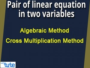Pair Of Linear Equations In Two Variables - Algebraic Method - Cross Multiplication Method Video By Lets Tute
