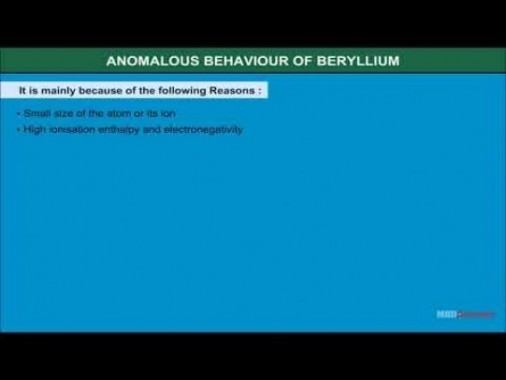 Class 11 Chemistry - Anomalous Behaviour Of Beryllium Video by MBD Publishers