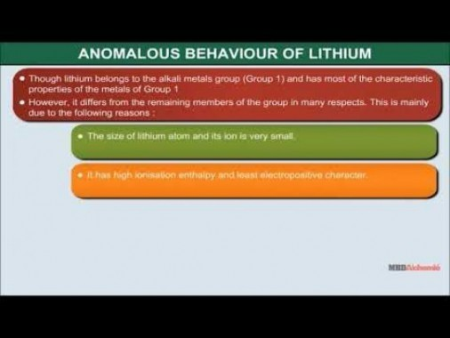 Class 11 Chemistry - Anomalous Behaviour Of Lithium Video by MBD Publishers