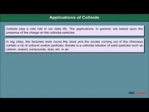 Class 12 Chemistry - Applications Of Colloids Video by MBD Publishers