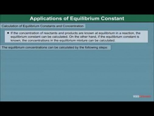 Class 11 Chemistry - Applications Of Equilibrium Constant Video by MBD Publishers