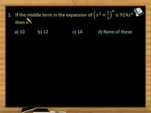 Binomial Theorem - Class Exercise (Session 3)